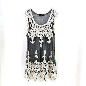 Pretty Angel Black Sheer w/Ivory Crochet Dress